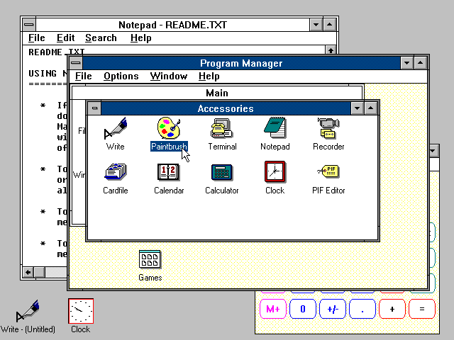 Windows 3.0 desktop.