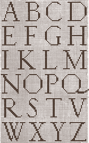 Ostaus' pixel-based alphabet.