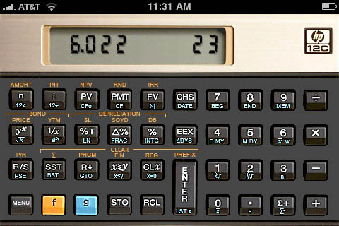 HP 12c calculator running on the iPhone.