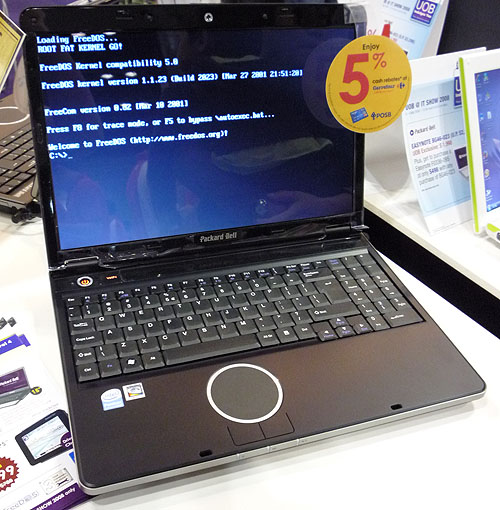 FreeDOS pre-installed on a Packard Bell.