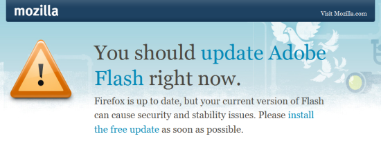 Firefox' new Flash warning.