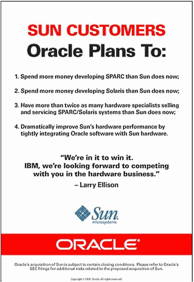 Oracle's advertisement in the WSJ.