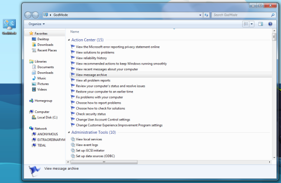 Gode mode in Windows 7.
