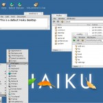 Haiku - File system hierarchy showing in Tracker [right] and the Deskbar preferences menu [lower left]