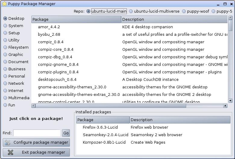 The Package Manager (with Ubuntu Repositories)