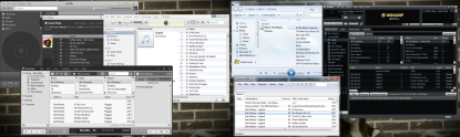 Screenshot of iTunes, Winamp, Windows Media Player, MusicBee, Foobar2000 and Spotify on Windows 7