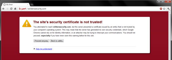 Untrusted site certificate warning