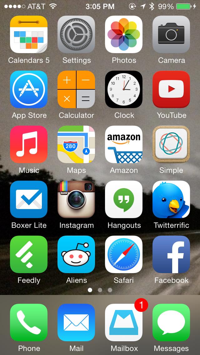 My iOS 7 springboard